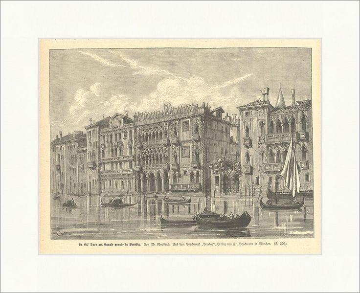 La Ca Doro am Canale grande in Venedig Holzstich Palazzo Palast Italien E 1517 - Billerantik