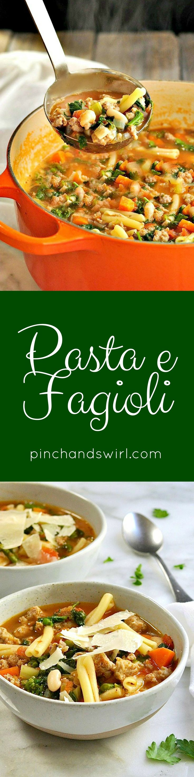 Pasta e Fagioli soup began in Italy as a simple dish made with inexpensive ingredients, as so many of the country's most delicious dishes are. After trying several variations, I've settled on the Pasta Fagioli recipe that's perfect for us with a couple ki
