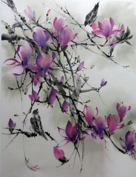Ella Saridi -  Magnolia and Sparrows  Japanese ink painting by Suibokuga on Etsy