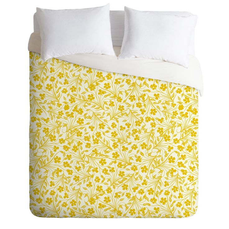 Jenean Morrison Pale Flower Yellow Duvet Cover | DENY Designs Home Accessories