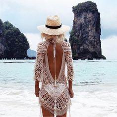 $39.99 Lace Sheer Crochet Open Back Beach Tunic Beachwear Cover Up