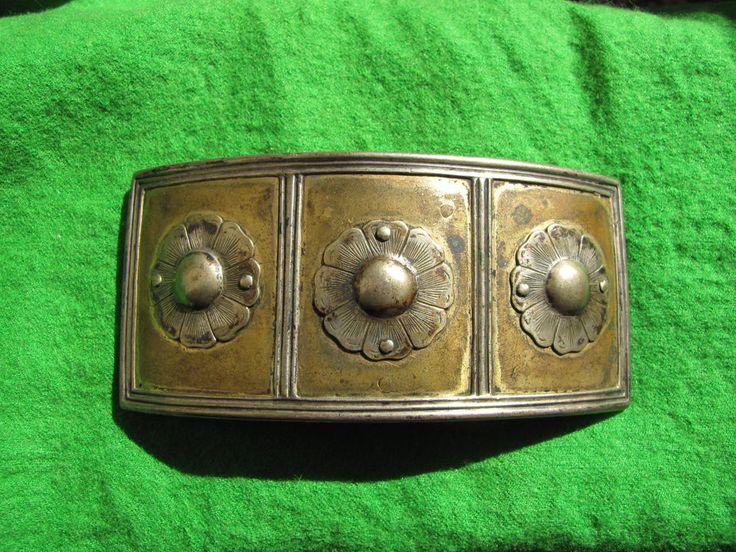 Antique bronze with silver flower belt Buckle women Cultures Ethnicities RARE
