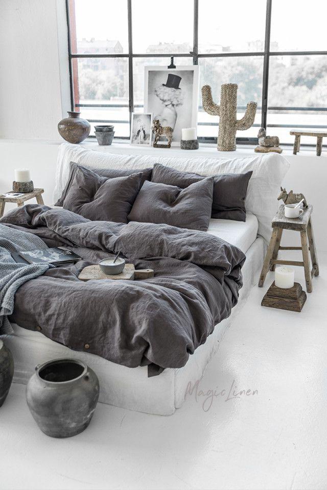 Dark Grey Linen Duvet Cover In 2021 Bed Linens Luxury Bed Linen Sets Linen Duvet Cover Grey