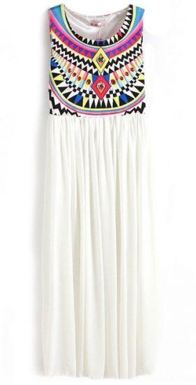 White Sleeveless Geometric Tribal Print Chiffon Dress - Sheinside.com Mobile Site