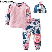 Nieuwe 2017 Pasgeboren Baby Meisje Kleding Mode Lange Mouwen Bloemen Top + Broek + Cap Zuigeling 3 Stks Pak Casual Outfits Babykleding Set(China (Mainland))