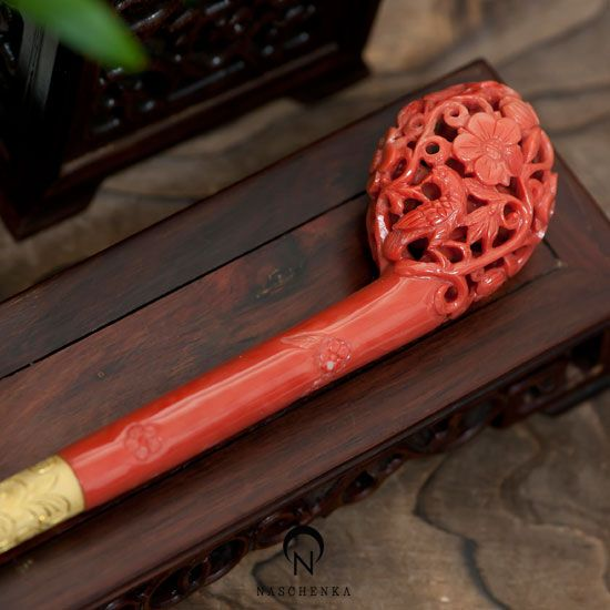 Korean, Binyeo, Traditional Long Hairstick, Handcarved Coral and Gold, Eggplant Shape Design