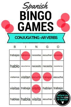 """FLASH FREEBIE - 40 bingo cards (printed 2 per page) to practice the conjugation of 5 -ar verbs in Spanish. Includes the verbs escuchar, hablar, necesitar, visitar and trabajar. Use the call list for calling out 25 different combinations of the verbs listed. (Vosotros form is not included.) Example: Call out """"I listen"""" students search for """"escucho.""""  *If you like this free product, please take a minute to leave a rating. 20 ratings = a new flash freebie!!This bingo game is part of a bundle!"""