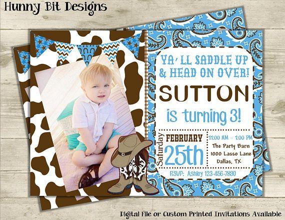 Cowboy Invitation With Picture Western Invite Boot Invite