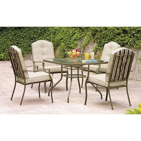 Mainstays Warner Heights 5 Piece Patio Dining Set Tan Seats 4 Dining Sets Walmart And Tans