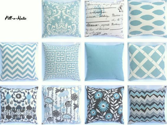 One Aqua Blue and Natural Cream INVISIBLE ZIPPER Decorative Throw Zipper Pillow Cover Soft Blue 18 Inch 20 Inch 16 Inch and Lumbar sizes