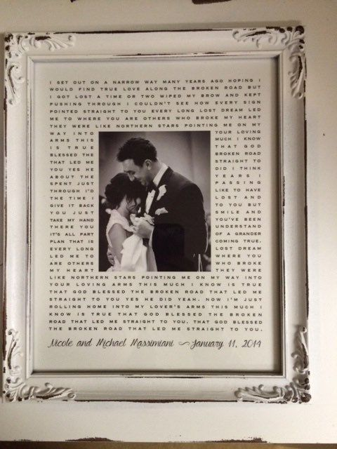 Bless The Broken Road by Rascal Flats, Beautiful gift for 1st year anniversary (paper anniversary) Wedding lyrics and 1st dance photo framed