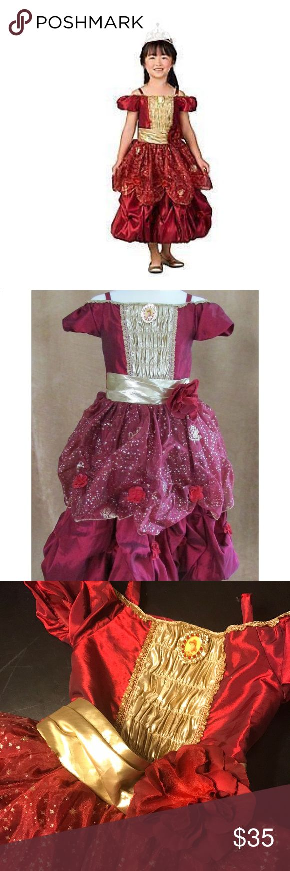 Disney store belle holiday red gold dress up Disney store  Princess belle dress  Size small 5/6  In excellent condition! Disney Dresses