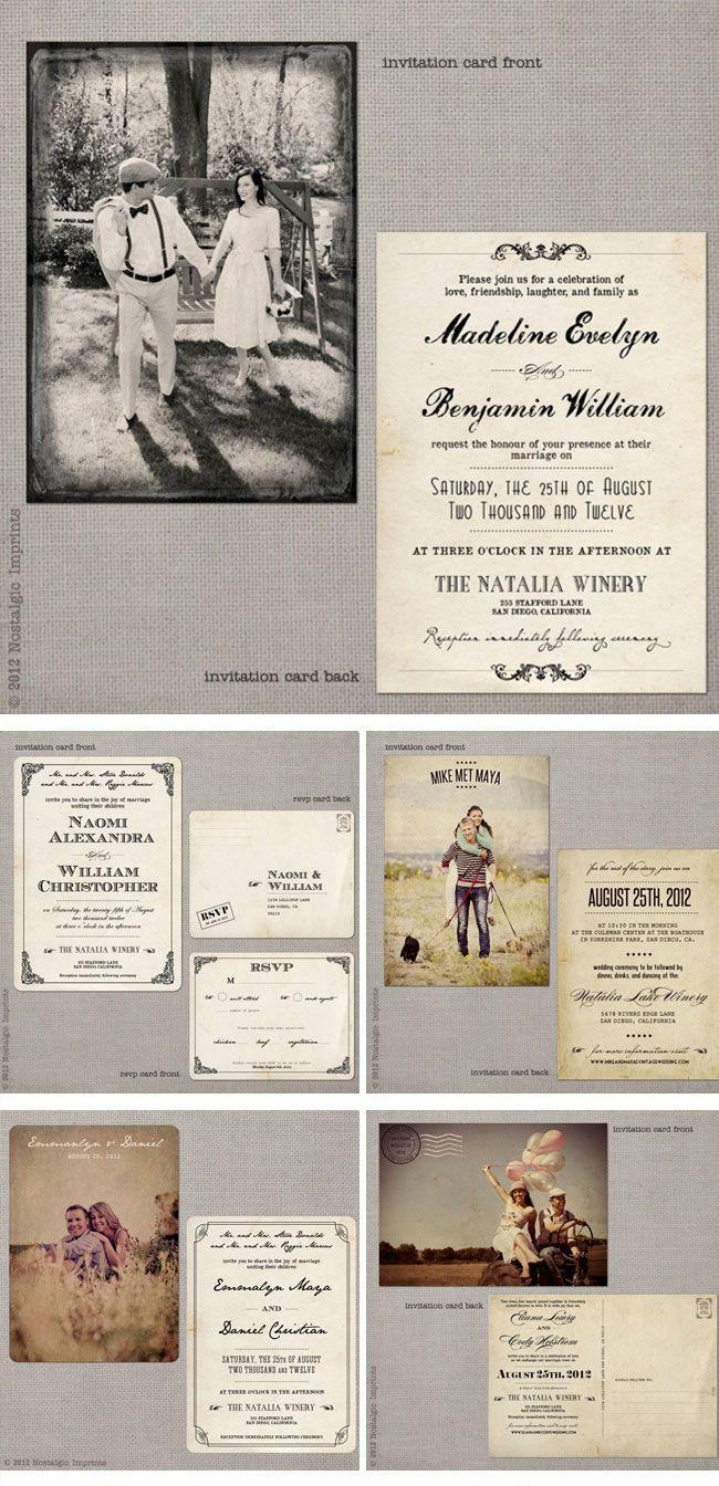 Nostalgic Imprints Vintage Hochzeitseinladungen vintage wedding invitations