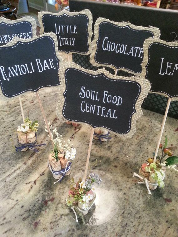 Custom Order for TEN Mini Chalkboard Signs for Food Stations - Table Numbers - Place Cards on Etsy, $75.00
