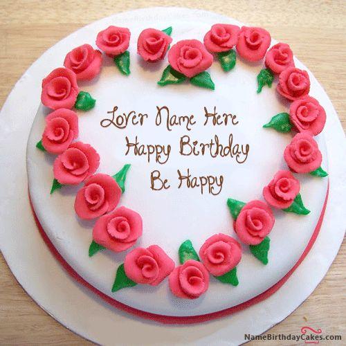 Write Name On Roses Heart Birthday Cake