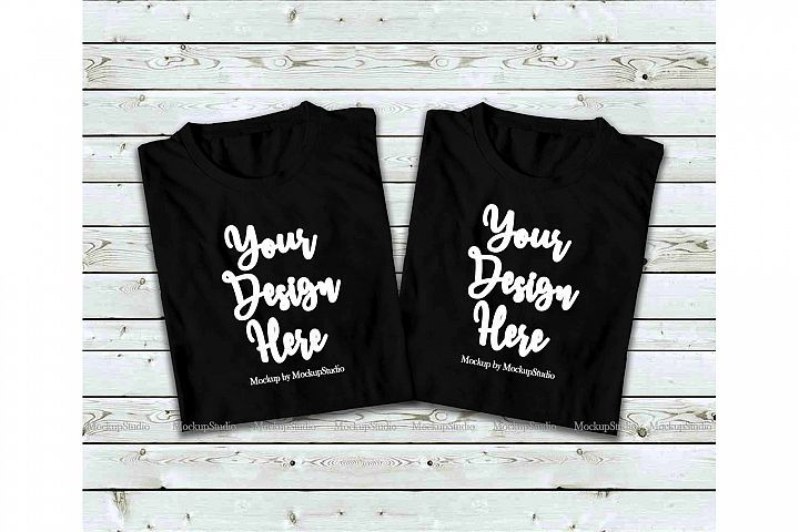 Download Two Black Folded Tshirt Mock Up Double Tees Top View Mockup 197009 Clothing Design Bundles Tops Clothes Design Top Tee