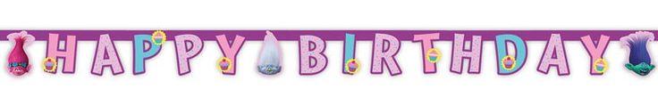 Trolls Happy Birthday Bogstav Banner - 190cm