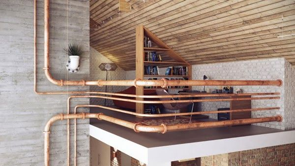 industrial loft apartment with exposed copper pipes