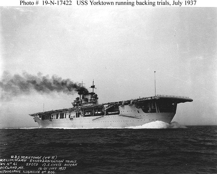 USS YORKTOWN   (CV-5) Aircraft Carrier  in 1937
