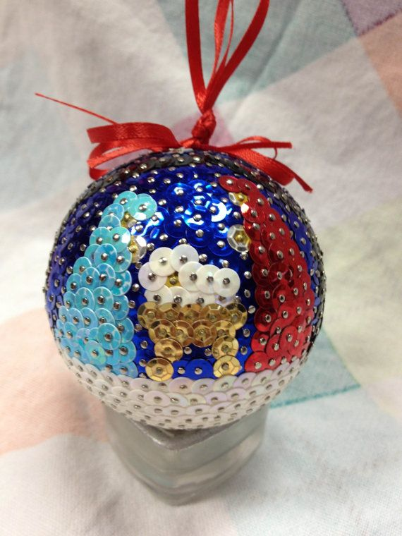 Beautiful handmade sequin ornament by 530Craftycraft on Etsy, $25.00