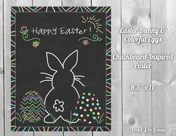 Easter Bunny Chalkboard Eggs Poster by MudPieSoup on Etsy, $5.00