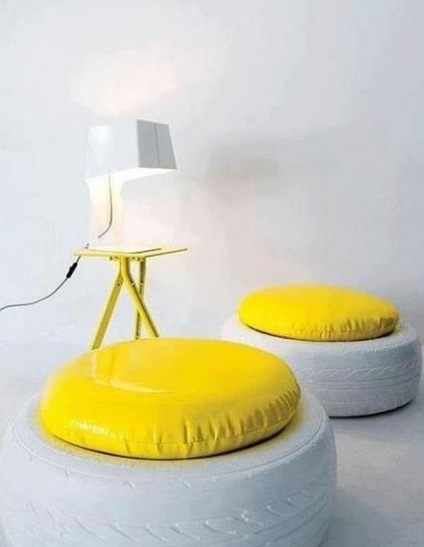 diy m bel schneewei design autoreifen gelb sitzplatz deko autoreifen pinterest autoreifen. Black Bedroom Furniture Sets. Home Design Ideas