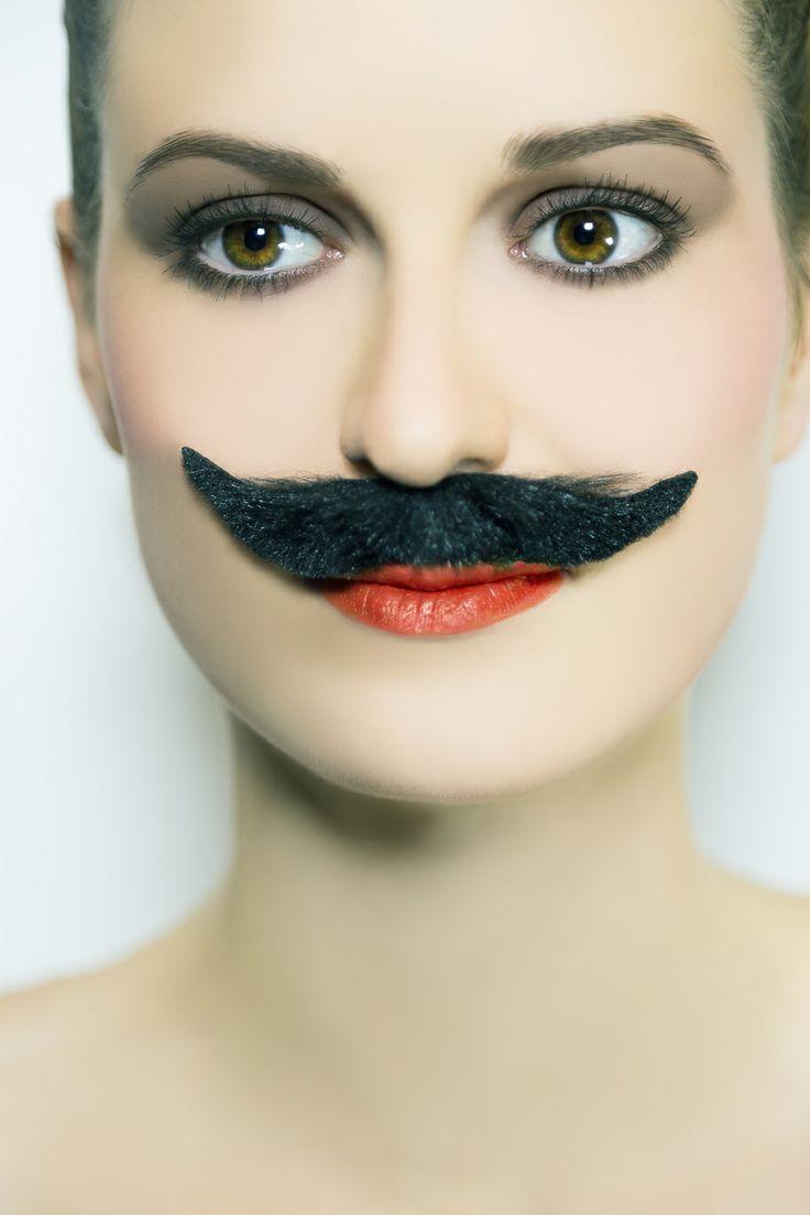 Woman portraiture, beaty, movember, moustache, fashion