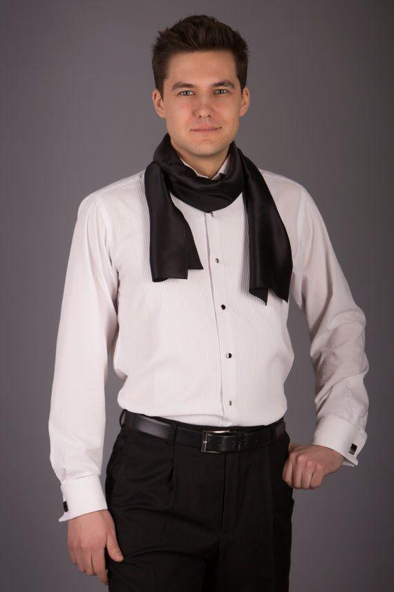 Men silk scarf/ Black silk scarve/ Mens silk tie/ by JumBSilk