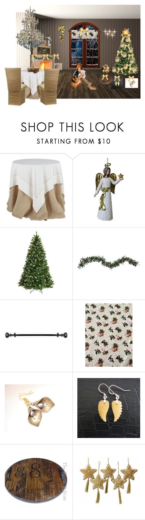 By the warm glow of the fireside by cozeequilts on Polyvore featuring Elegant Lighting, National Tree Company, Improvements, NOVICA, Achim, St. Nicholas Square and rustic