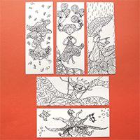 Bohókás lányok színezős könyvjelző szett - Megvásárolható a linkre kattintva #színező #könyvjelző #girl #fun #vidám #coloring #bookmark