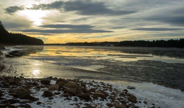 Tornionjoki River in early winter in Pello in Lapland