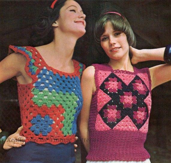 Retro Crochet Pattern Granny Squares Tank Tops x 2 Vintage pdf Pattern