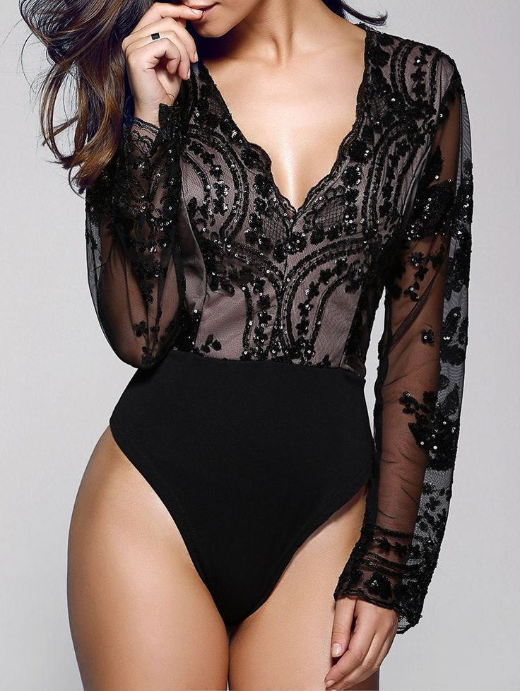 Floral Sequined Plunging Neck Long Sleeve Bodysuit BLACK: Rompers | ZAFUL