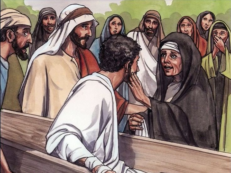 Free Visuals:  Jesus raises the widow's son  Jesus raises to life the dead son of a widow living in Nain. Luke 7:11-17