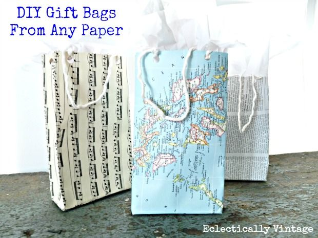 DIY Gift Bags from Any Paper Tutorial - use maps, music sheets, books, scrapbook paper!