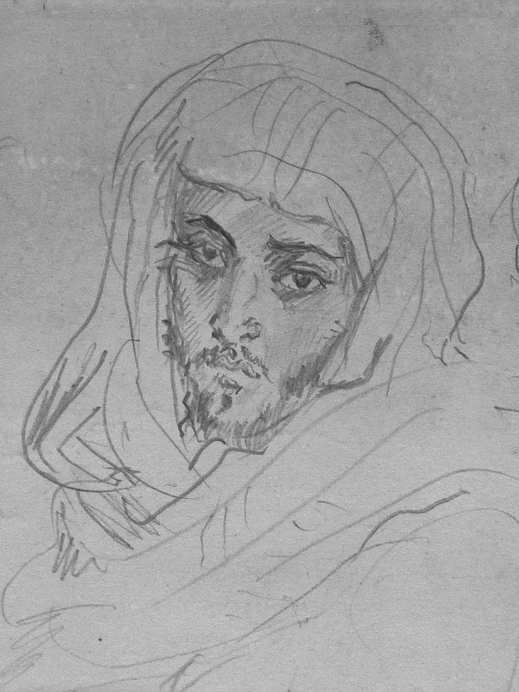 CHASSERIAU Théodore,1846 - Deux Arabes assis - drawing - Détail 25 - Dignité triste - Sad dignity -
