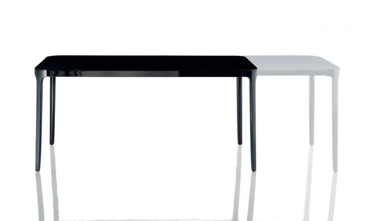 Tables. Material: legs in die-cast aluminium polished or painted. Crosspieces in aluminium polished or painted. Tops in tempered glass. Leaf in painted MDF.