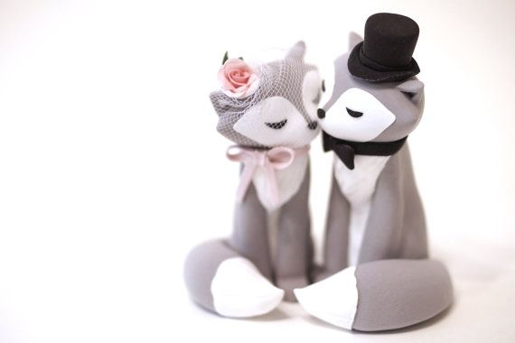Wolf Wedding Cake Topper by TopThatCakeOff on Etsy