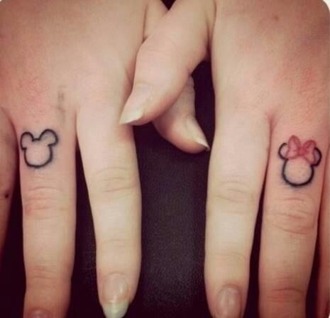 Minnie and Mickey matching tattoos
