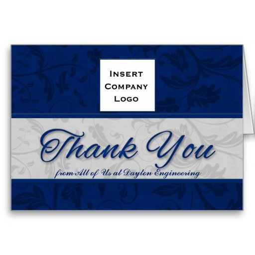 Big Save on Business Logo Custom Thank You Blue Damask