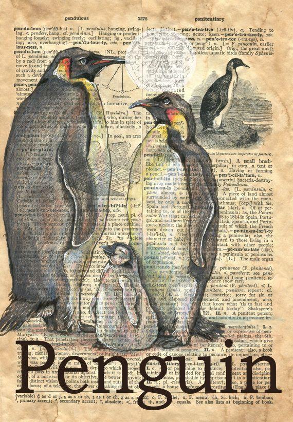 Druck: Pinguin-Gemischte Medien Zeichnung auf antike Wörterbuch