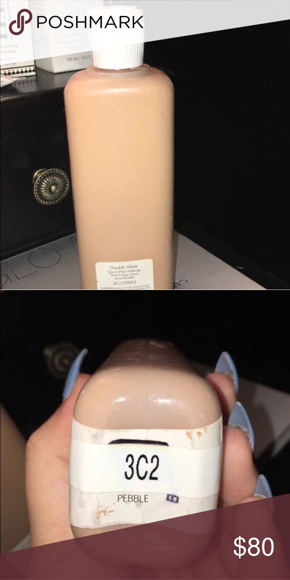 Estée Lauder foundation Estée Lauder double wear foundation bottle 6.7 OZ . these are the bottles behind the counter used to fill up the 1 OZ foundations. worth over $300 in foundation and good use for a year. RARE BOTTLES .. shade : 3C2 pebble Estee Lauder Makeup Foundation