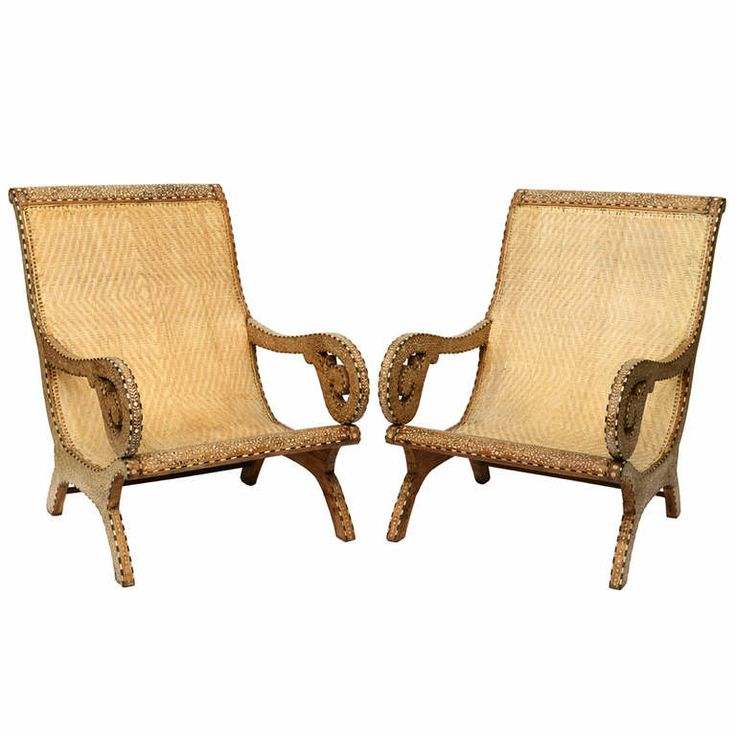 19th Century Rare Exotic Anglo Indian Bone Inlay Palace Lounge Chairs