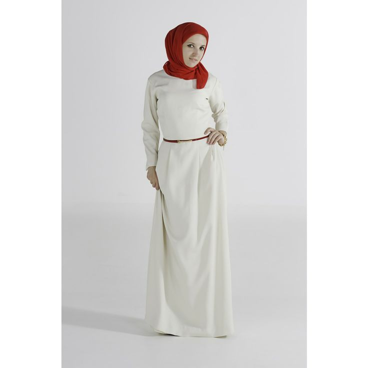 white abaya with red hijab