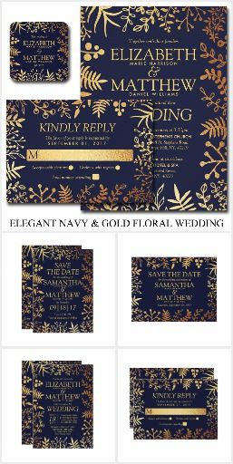 The Elegant Navy Gold Fl Wedding Collection Beautiful Leaves Against A Blue Background For Spring