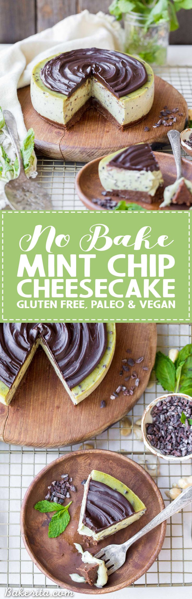 This No Bake Mint Chip Cheesecake is a healthier paleo and vegan cheesecake, made with a creamy cashew base. It has a nutty chocolate crust and a smooth and minty filling, with crunchy cacao nibs throughout and creamy dark chocolate ganache on top. #ad @sprouts