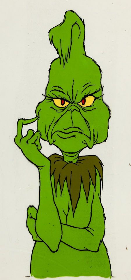 "#DrSeuss' How The Grinch Stole Christmas #Grinch Color Model Cel (MGM, 1966). This is truly a ""WOW"" piece! A rare ink and paint Color Model cel of the Grinch, used for animator's reference."