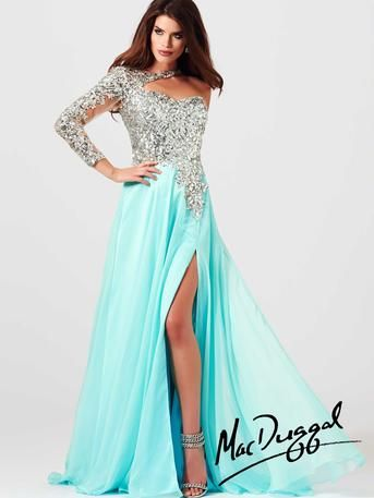 Mac Duggal Prom - 85307M High fashion is right at your fingertips with this lovely one sleeve prom gown. It is both romantic and red carpet worthy, but is ready to wear for any special event. A fully crystal jeweled and sequined sweetheart bodice flows over the shoulder and falls into a sexy sheer illusion sequined sleeve in aqua and buttercup at Estelle's Dressy Dresses! #estellesdressydresses