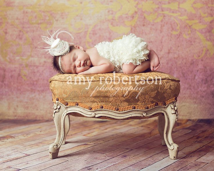 Newborn Girl Vintage Stool Coral