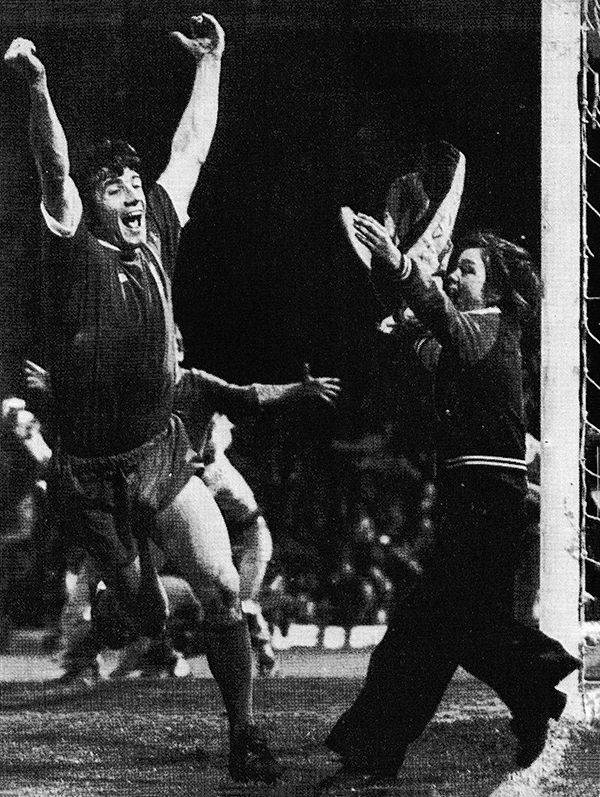 4th May 1976. Wild celebrations at Molinuex as Liverpool striker Kevin Keegan scores the goal against Wolverhampton Wanderers that snatched the league from under the noses of Queens Park Rangers.